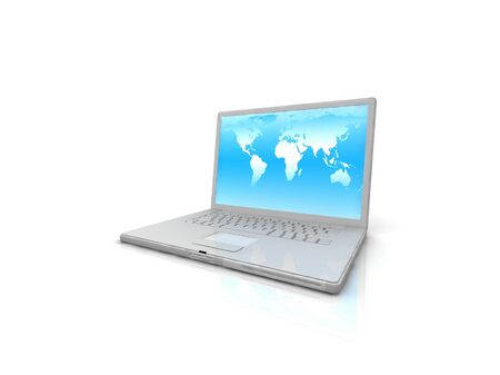 professional Laptop on white background with reflection Stock Photo - 17124552