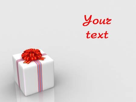 White gift isolated on white background Stock Photo - 17124640