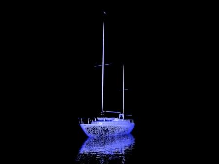 luxury yacht model isolated on black background Stock Photo - 17124556