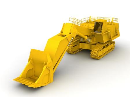 bulldozer-excavator isolated on white Stock Photo - 17295947