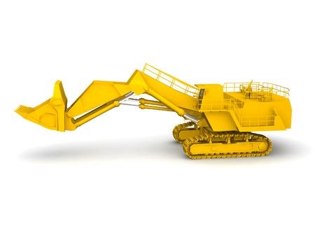 bulldozer-excavator isolated on white Stock Photo - 17295808