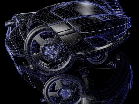Auto model op zwarte achtergrond met bezinning