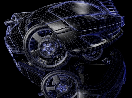 Car model on black background with reflection Stock Photo - 17296046