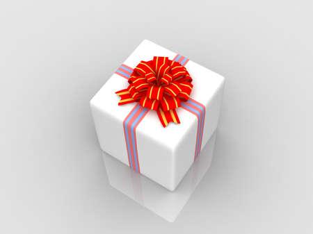 White gift isolated on white background Stock Photo - 17295953