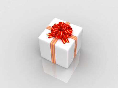 White gift isolated on white background Stock Photo - 17295960