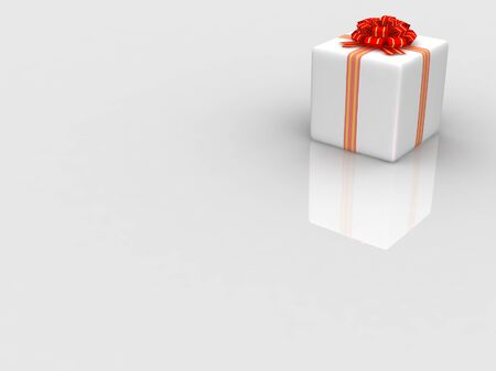 White gift isolated on white background Stock Photo - 17295926