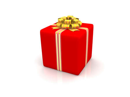 Red gift isolated on white background Stock Photo - 17295710