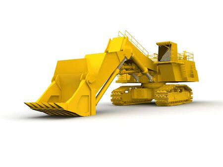 bulldozer-excavator isolated on white Stock Photo - 17409525
