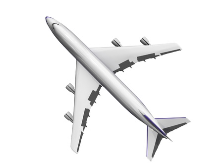 jet airplane isolated on white. Top view.
