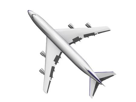 jet vliegtuig geïsoleerd op wit. Bovenaanzicht.