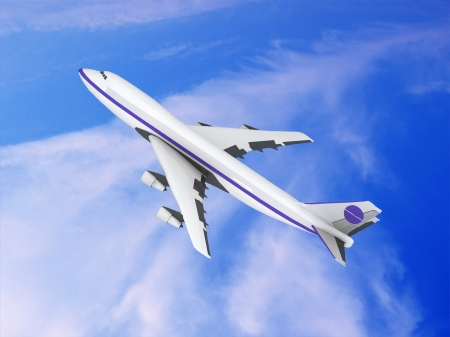 flying jet airplane Stock Photo