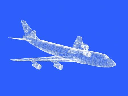 raytraced: model of jet airplane isolated on blue background
