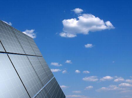 echo: Solar panel against blue sky. Concept - echo energy.