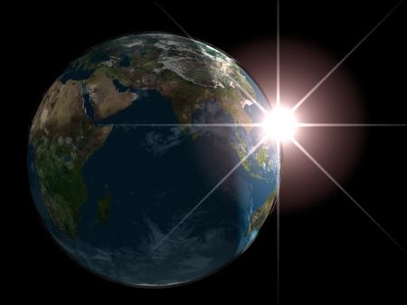zonsopgang op de planeet aarde