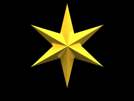 Gold Christmas star isolated over a black background Stock Photo - 17409369