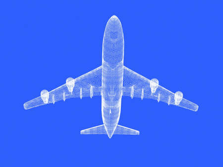 model of jet airplane isolated on blue background