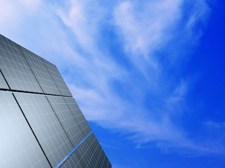 Solar panel against blue sky. Concept - echo energy. photo