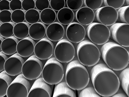high technology background - aluminum tubes Stock Photo