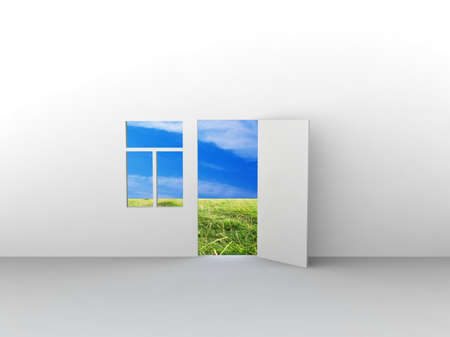Exit to natural landscape with door and window. Concept - eco house. photo