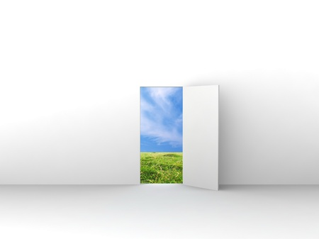 Exit with door to natural landscape. Concept - echo house. Stock Photo
