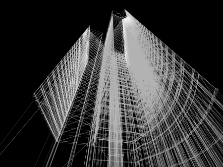 Abstracte architectonische 3D constructie. Concept - moderne architectuur en ontwerpen.