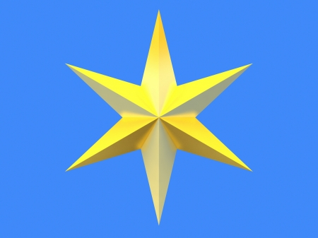 bedeck: Gold Christmas star isolated over a blue background Stock Photo