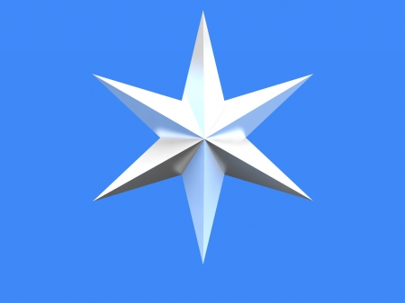 Silver Christmas star isolated over a blue background Stock Photo - 17720750