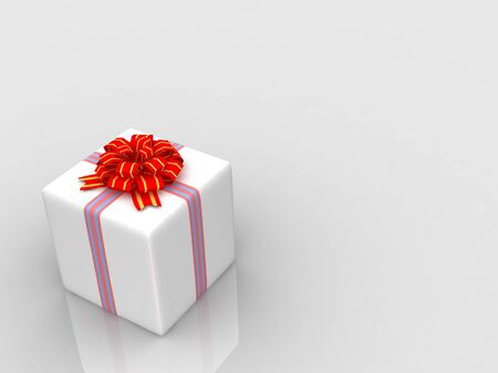 White gift isolated on white background photo