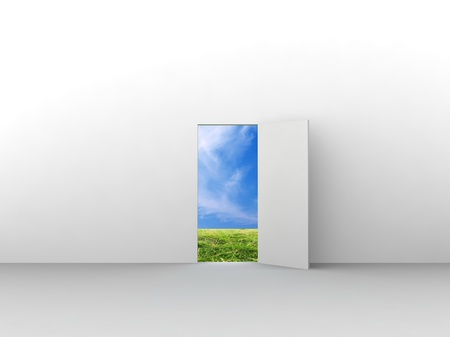 Exit with door to natural landscape. Concept - eco house. Stock Photo