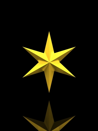 Gold Christmas star isolated over a black background with reflection