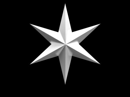 Silver Christmas star isolated over a black background Stock Photo - 17986843
