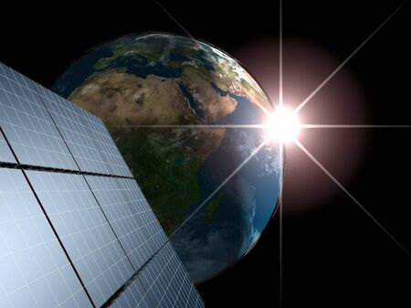 Solar panel against Earth with sunrise. Concept - echo energy. Stock Photo