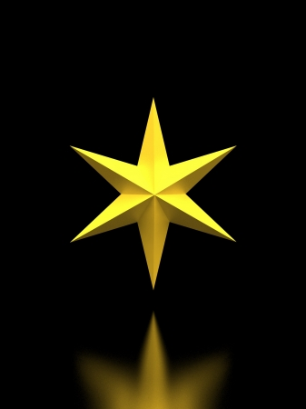 bedeck: Gold Christmas star isolated over a black background with reflection