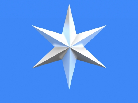 bedeck: Silver Christmas star isolated over a blue background