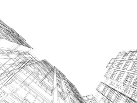 Abstract architectural 3D construction. Concept - modern architecture and designing. photo