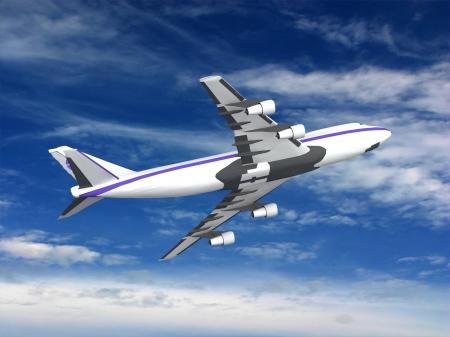 flying jet airplane Stock Photo