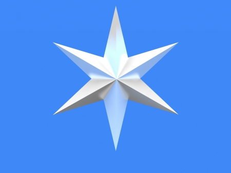 Silver Christmas star isolated over a blue background photo