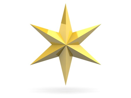 Gold Christmas star isolated over a white background Stock Photo