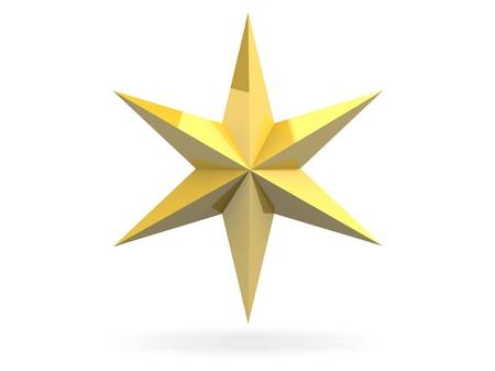 Gouden Kerst ster geà ¯ soleerd over een witte achtergrond