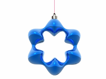 bedeck: stylized blue Christmas star isolated over a white background Stock Photo
