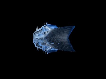 luxury yacht model isolated on black background Stock Photo - 18554526