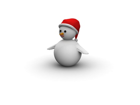 snowman with Santa Claus hat isolated on white background photo