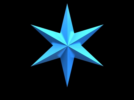 bedeck: Blue Christmas star isolated over a black background