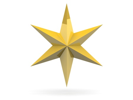 bedeck: Gold Christmas star isolated over a white background Stock Photo