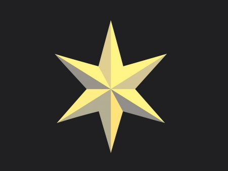 bedeck: Gold Christmas star isolated over a black background