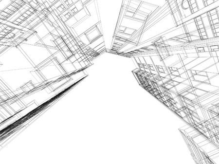 Astratto costruzione architettonica 3D. Concetto - architettura moderna e la progettazione. Archivio Fotografico - 19428008