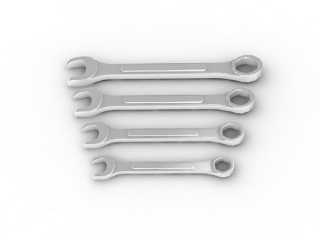 Set of spanners isolated on white background photo