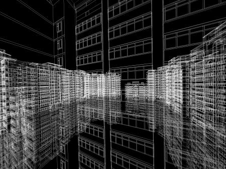 Abstracte architecturale 3D constructie. Concept - moderne architectuur en ontwerpen.
