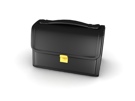 Black mini briefcase isolated on white photo