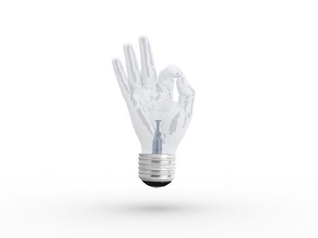 3D lightbulb - hand OK photo